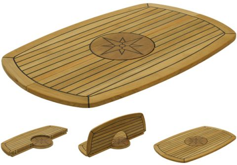 Marine TEAK Table tops Folding Elipse with Circle 139446