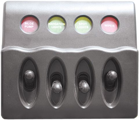Waterproof Backlit Switch Panels-4 switch panel with fuses