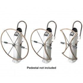 Lewmar folding DUAL HUB Steering Six Spoke S/S Wheels with Hide cover DUAL HUB