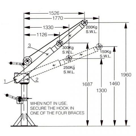 Backsaver cranes by Jarret 300kg Jarrett Backsaver ELECTRIC DC Crane Lift  Turn manual  F12696E12 F12696E24