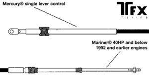 MARINER Pre 93 Mariner Low HP Control Cable CC210  630 Type Teleflex