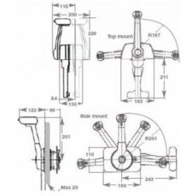 SL-3 side mount single engine control with trim and tilt switch