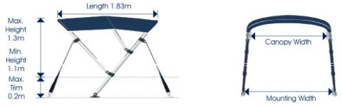 Bimini cover Three bow top cover runabout or open boat
