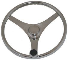 Stainless Steel Sports Steering Wheel with speed knob 3 spoke Looks and feels Great