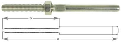 """Swage threaded Terminals to suit 2.5mm (3/32"""") wire TO 1/4"""""""