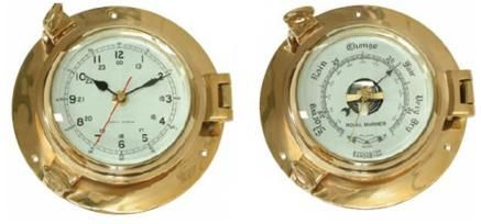 Marine Brass clocks / Barometer Porthole  - Small 186mm and Large 220mm