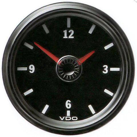 Clock S/Steel Black VDO 12v