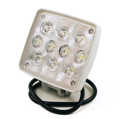 LED spotlight with 10 extra bright diodes operating at a range between 9~36 volts