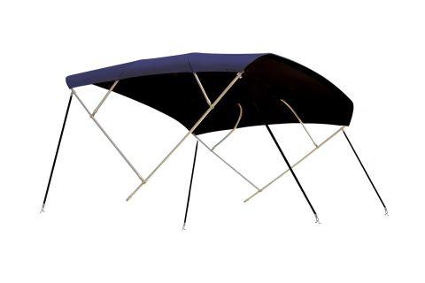 Cruiser  bimini cover Sunbrella Blue/ Black Stainless Steel frame 4 bow